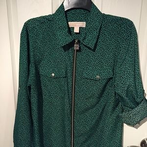 Michael Kors Green & Black Blouse with Silver Zip